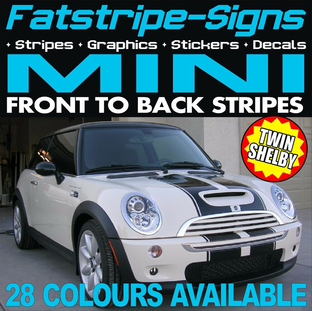 mini stripes shelby graphics decals stickers one cooper s. Black Bedroom Furniture Sets. Home Design Ideas