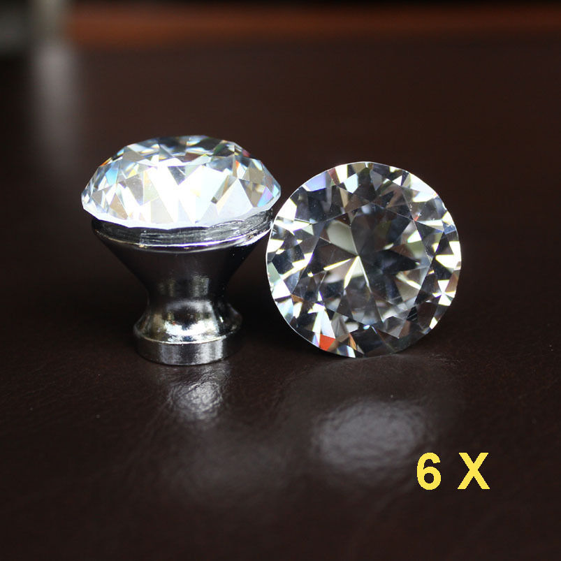 Crystal Knobs Kitchen Cabinets: 6 Pcs Crystal Glass Drawer Knobs Cabinet Handle Pulls