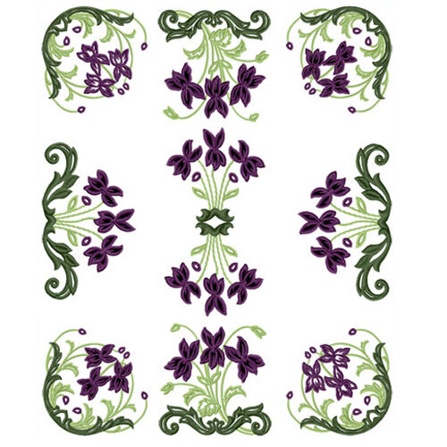 Abc designs violets deco bunch cutwork machine embroidery
