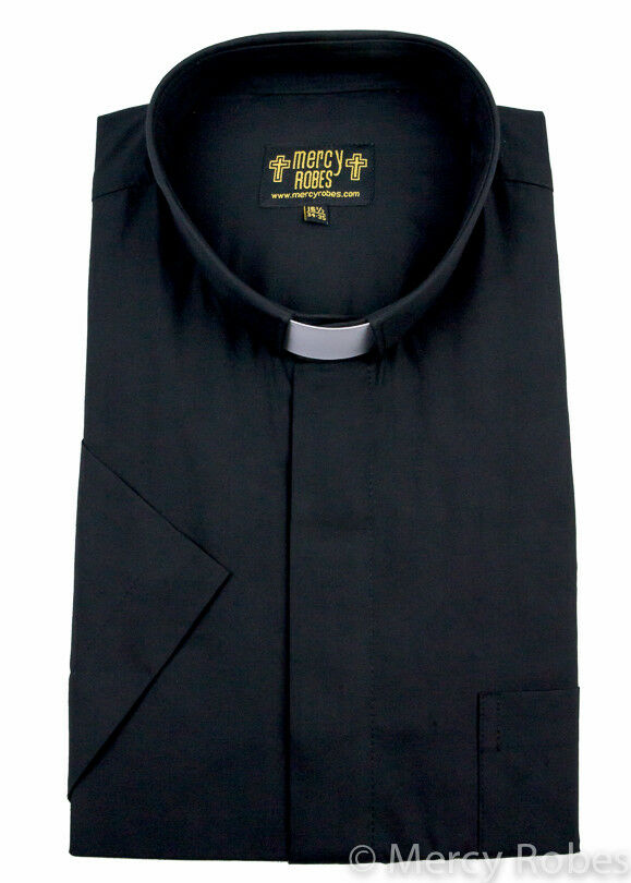Men 39 s black short sleeve clergy shirt tab collar minister for Mens black short sleeve dress shirt