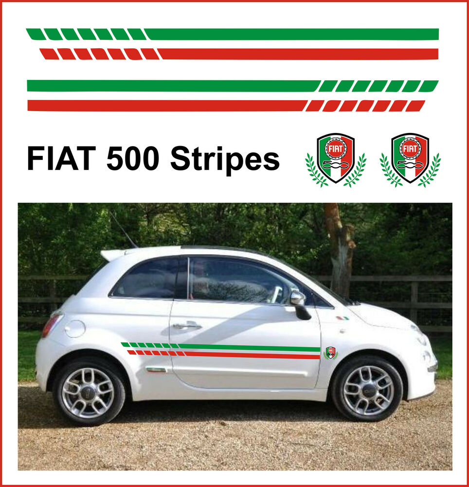 Fiat 500 Racing Side Stripes Amp Crests Fit The Best Ebay