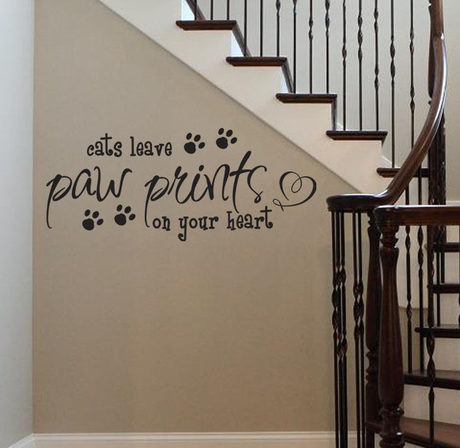 DOGS / CATS Leave Paw Prints On Your Heart Vinyl Wall