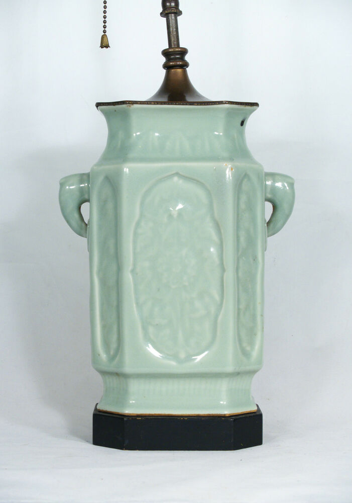 Antique Chinese Celadon Porcelain Vase Mounted As Table
