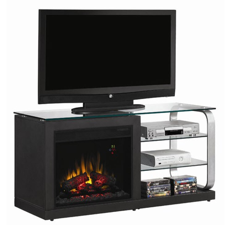 blk tv electric fireplace heater media console glass stand