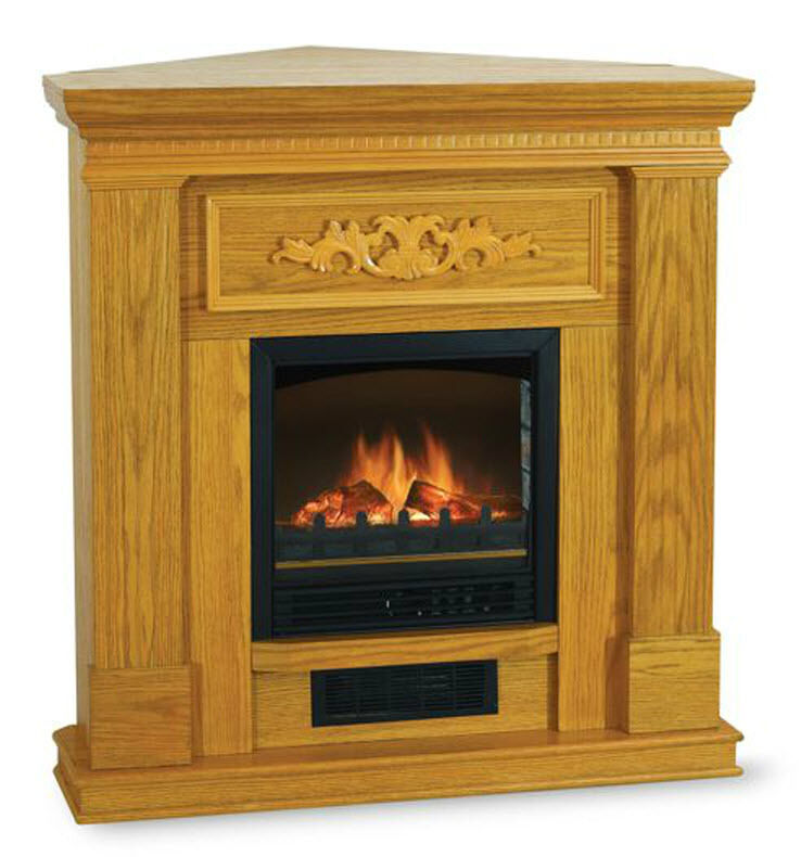 Electric Infrared Fireplace Heater Media Corner Oak Wood Color Mantel Tv Stand Ebay
