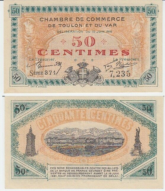 Gertbrolen billet 50 centimes chambre de commerce de for Chambre de commerce var