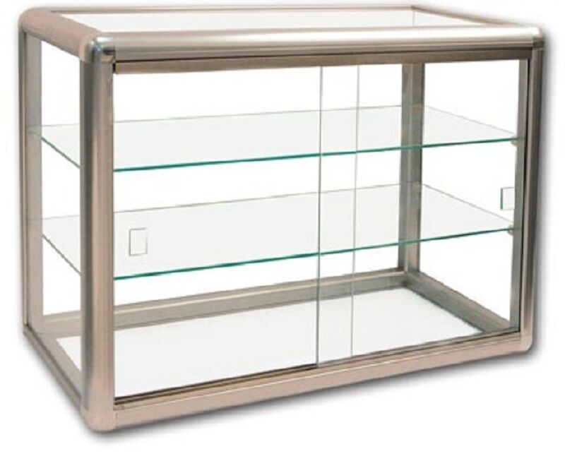 Glass Countertop Display Case Store Fixture Showcase Key lock 3 shelf ...