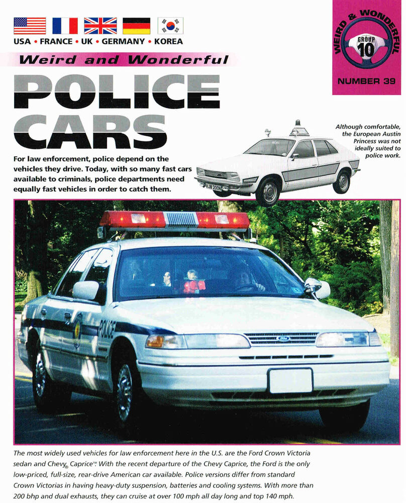 POLICE CARS Of The WORLD Brochure: Caprice, Crown Victoria
