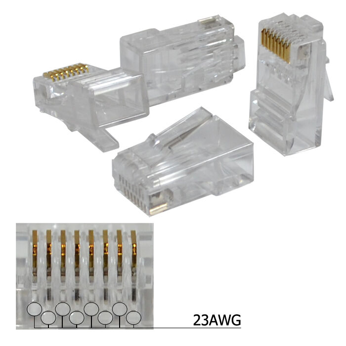 100 Pieces Rj45 8p8c Cat6 Modular Plug Ethernet Gold