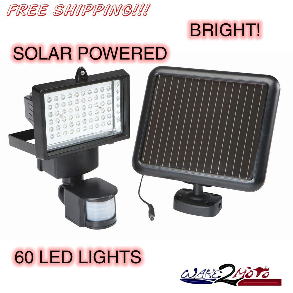 60 led security light with motion solar power detector. Black Bedroom Furniture Sets. Home Design Ideas