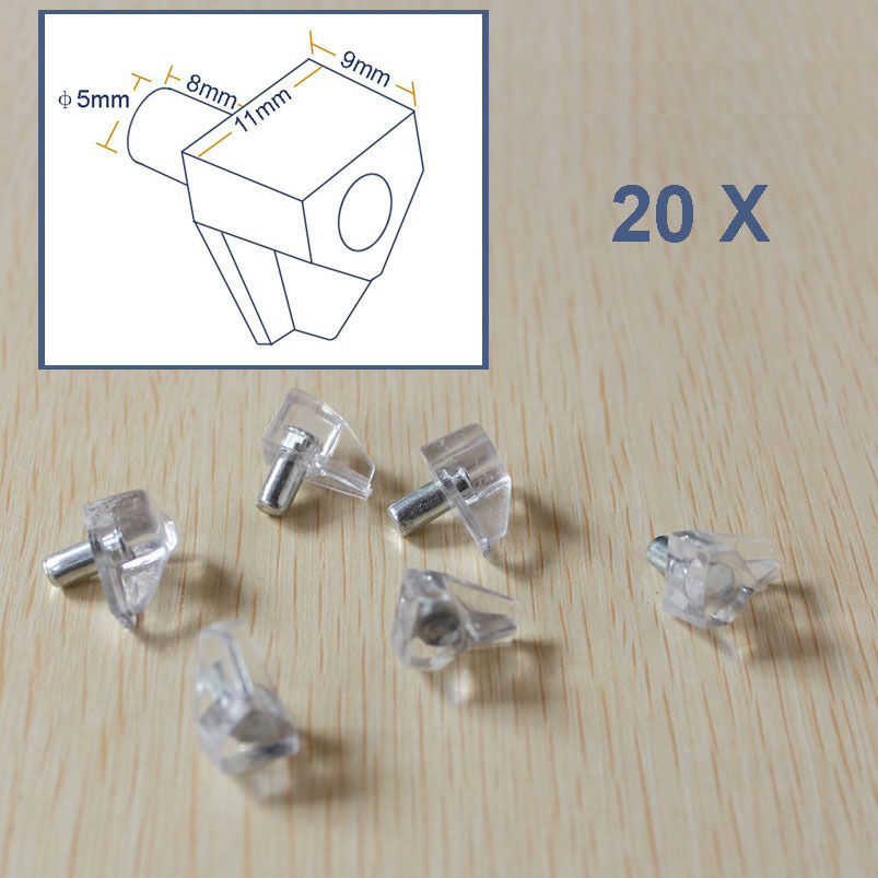 20 Pcs Cabinet Cupboard Shelf Support Peg Stud Pin With
