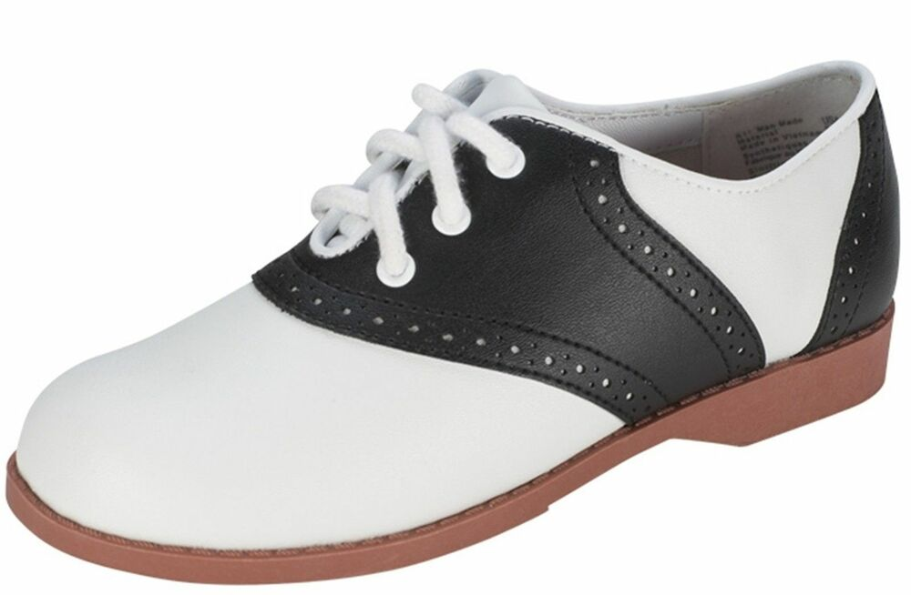 GIRLS 50'S STYLE BLACK AND WHITE SADDLE SHOES SIZES 11, 12 ...