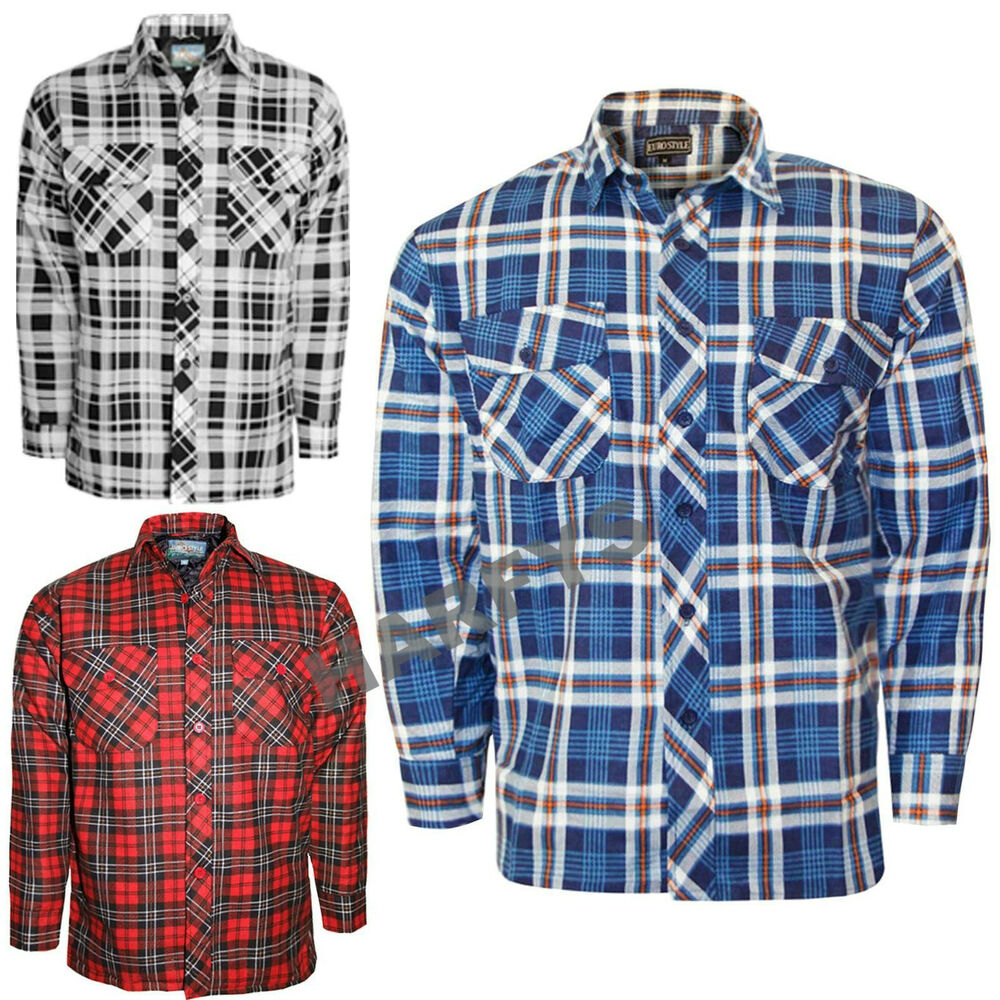 Mens warm padded quilted thick lumberjack flannel work for Mens warm flannel shirts
