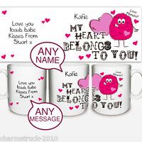 BRAND NEW PERSONALISED MONSTER HEART MUG ADD A NAME & MESSSAGE GREAT GIFT