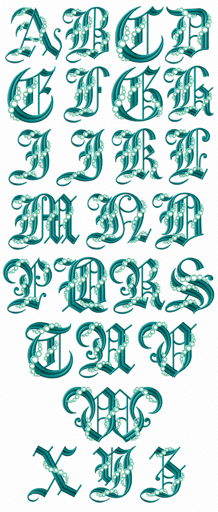 Abc designs seafoam gothic font machine embroidery designs for Embroidery office design 7 5 full