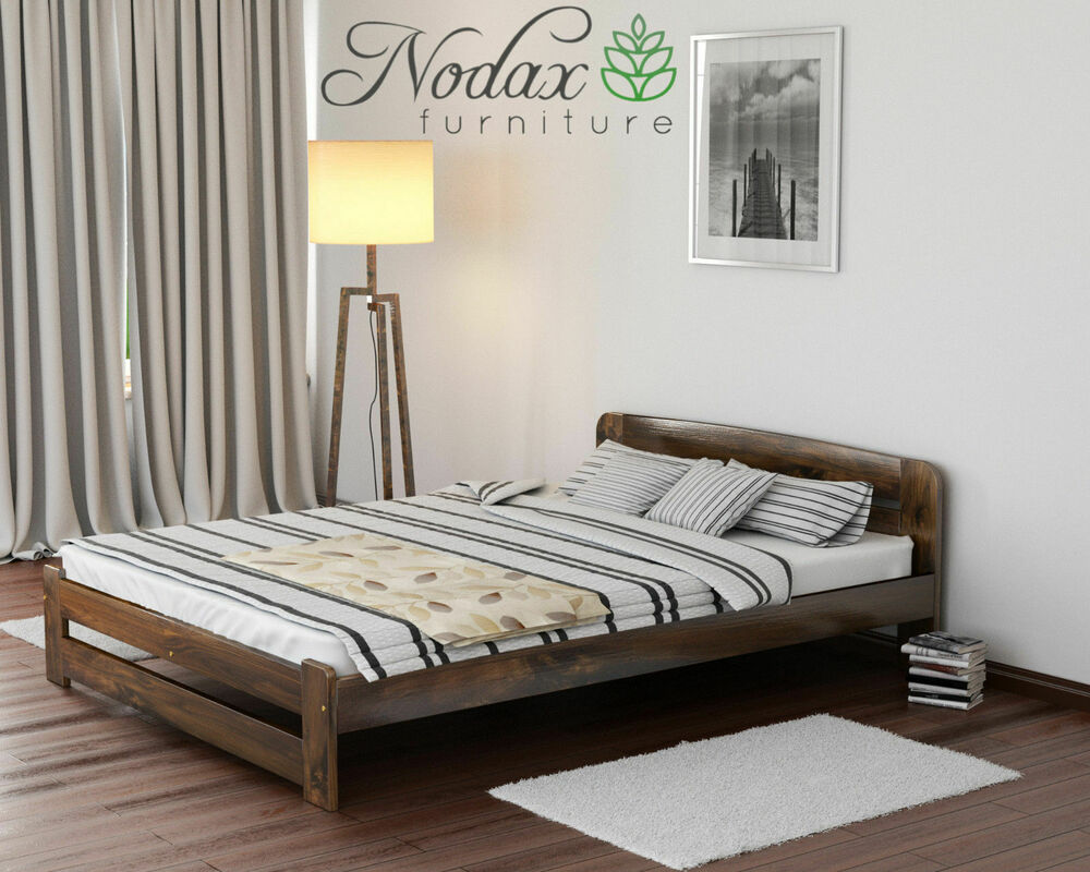 Nodax Solid Wooden Pine Double 4ft6in Bedframe Amp Slats