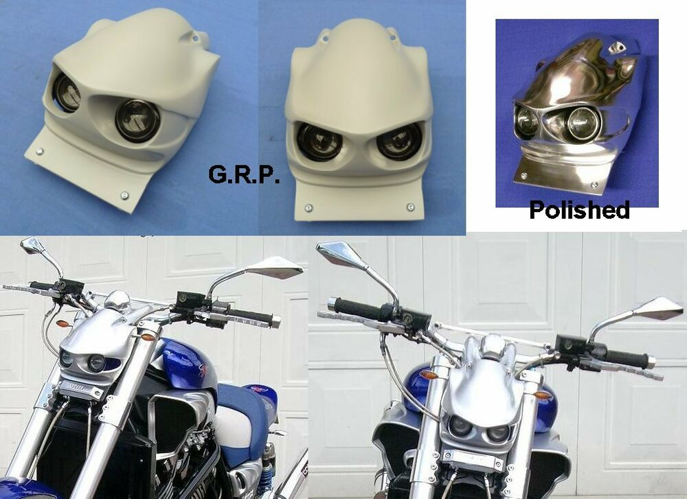 Yamaha v max 1200 cyber max headlight unit in polished for Yamaha vmax cafe racer parts