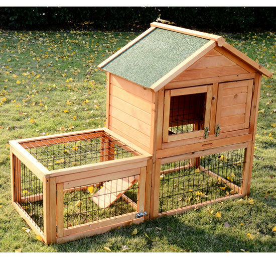 Pawhut wooden bunny rabbit hutch w run wood guinea pig for Outdoor guinea pig hutch
