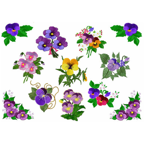 Abc designs fancy pansies machine embroidery