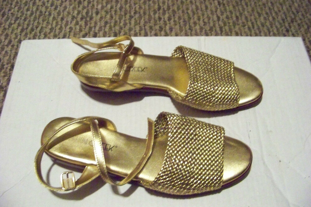 Cabin Creek Clothing: Womens Cabin Creek Gold Braided Ankle Strap Sandals Shoes