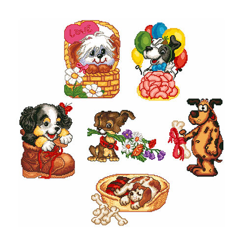 Abc designs funny dogs machine embroidery cross stitch