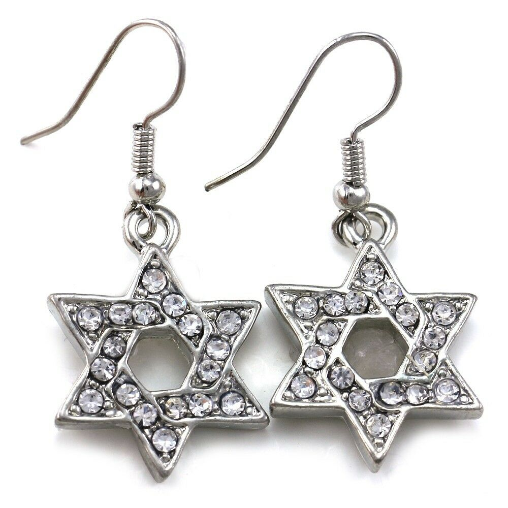 Silver Clear Indian Costume Jewellery Necklace Earrings: Clear Jewish Star Of David Dangle Hoop Earrings Silver