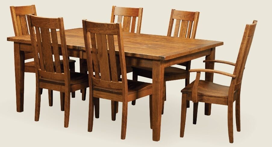 Amish Rustic Plank Expandable Rectangle Dining Set Table
