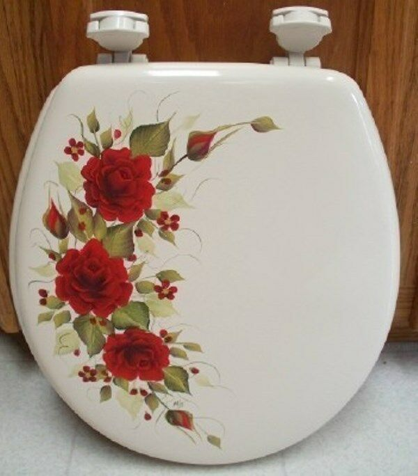 Hand Painted Red Roses Toilet Seat Bone New Item By Mb