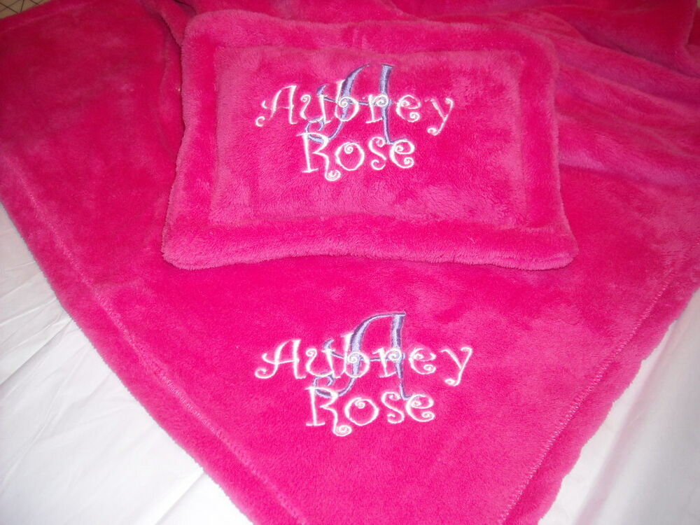 Personalized Baby Blanket Amp Pillow Set Cuddle Fleece Ebay