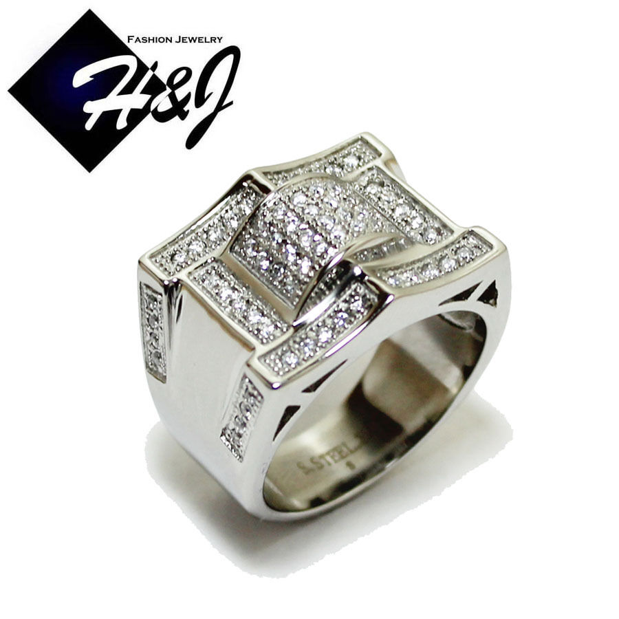 Men S Stainless Steel Silver 2 22 Carat Cz Iced Out Bling