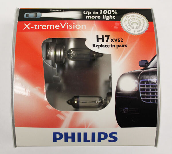 Genuine Philips X Treme Vision 100 Brighter H7 Xvs2 55w