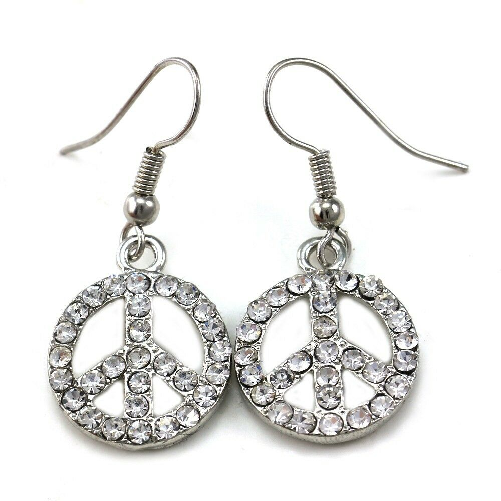 Peace Sign Dangle Earrings Silver Tone Clear Crystal Stone ...