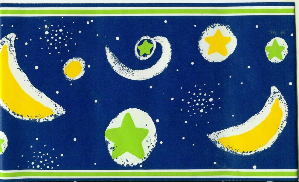 BRIGHT MOON AND STARS-GLOW IN THE DARK WALLPAPER BORDER