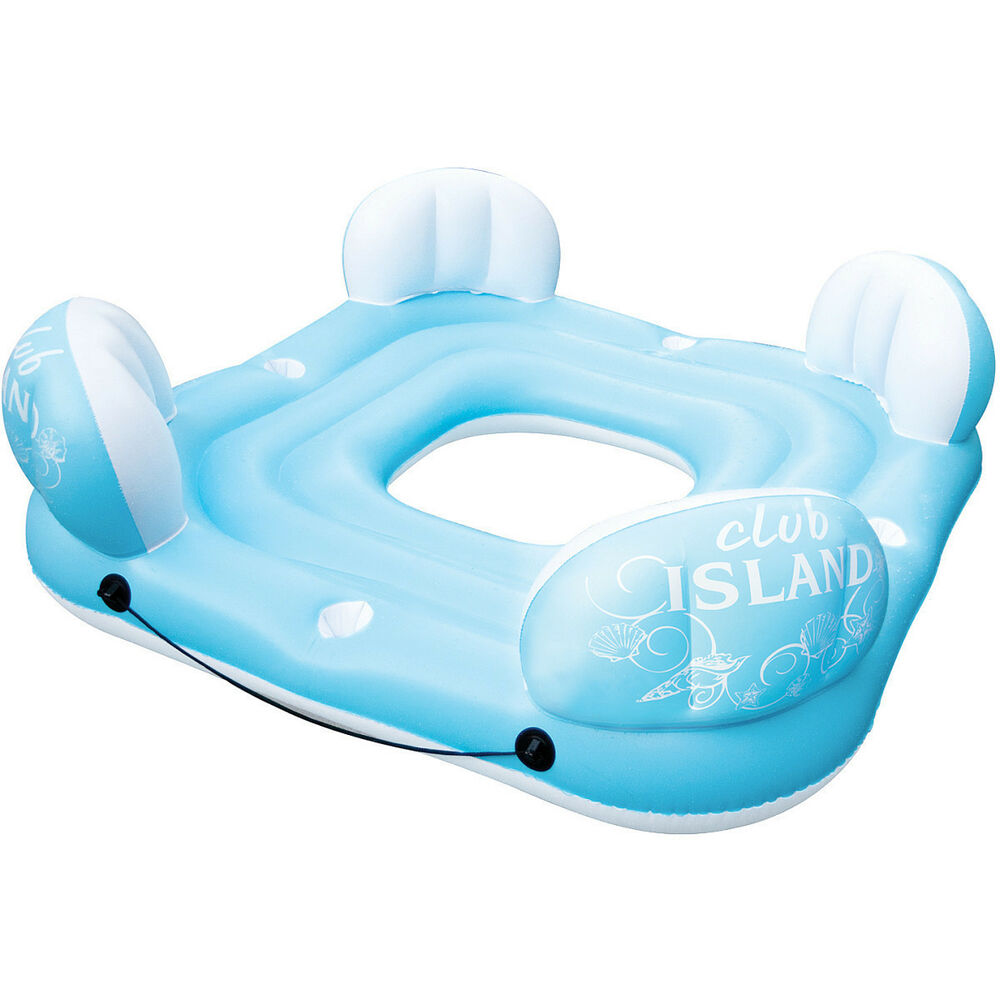 Poolmaster 83685 club island inflatable float lounge for Swimming pool loungers