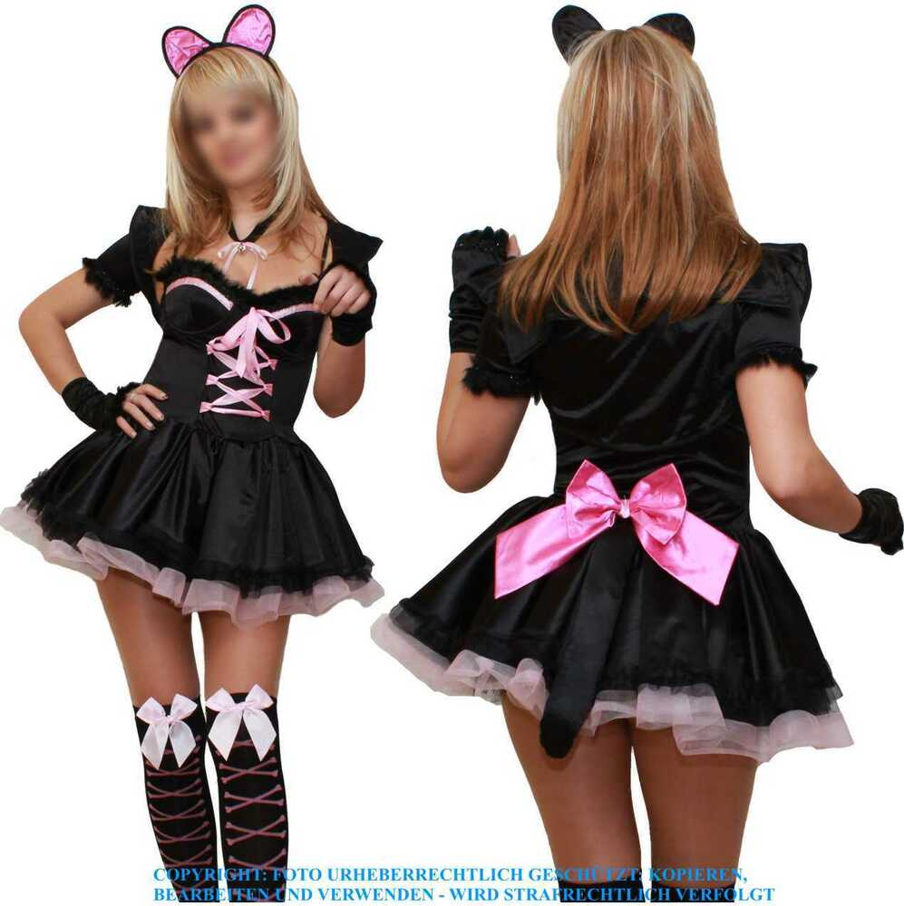 cat katze kitty fasching karneval damen sexy kost m s m l xl xxl 36 38 40 42 44 ebay. Black Bedroom Furniture Sets. Home Design Ideas