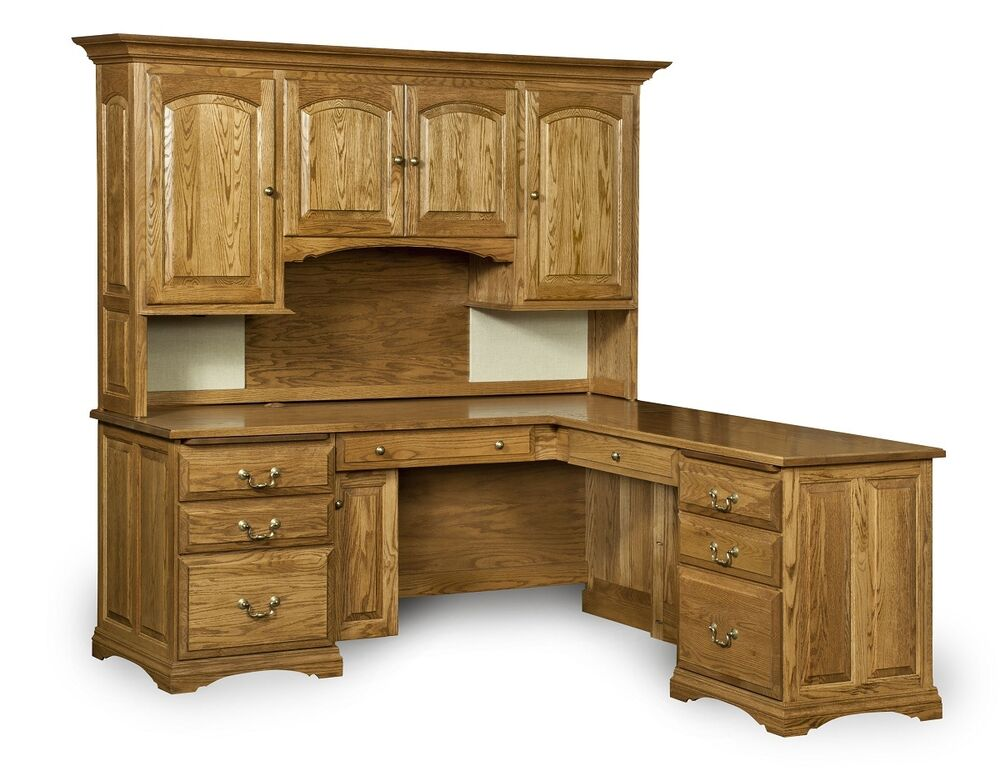 Amish Corner Computer Desk Hutch Home Office Solid Wood Furniture