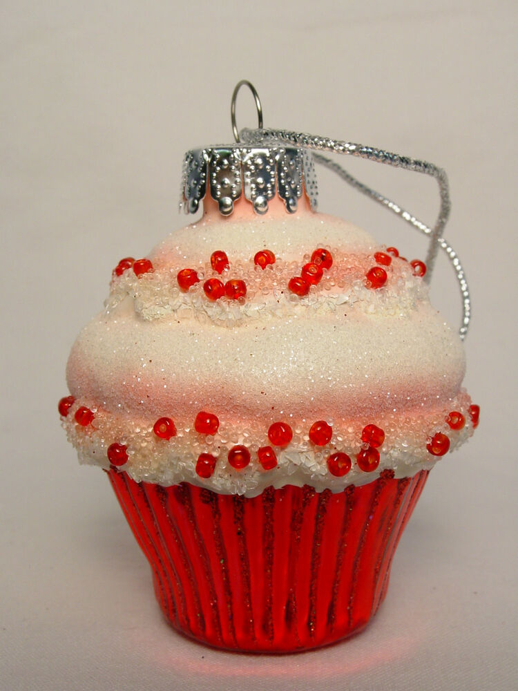 nos mini cupcake blown glass xmas ornament red bead