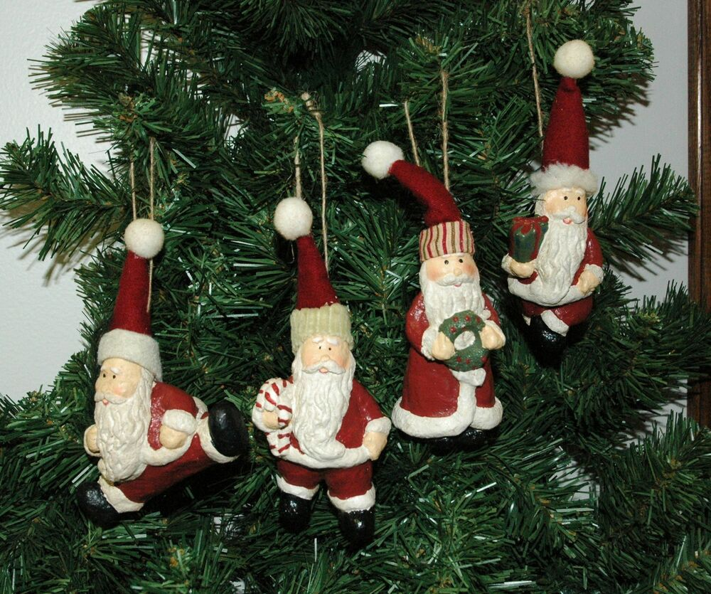 Assorted Set Of Four Vintage Looking Santa Claus Christmas