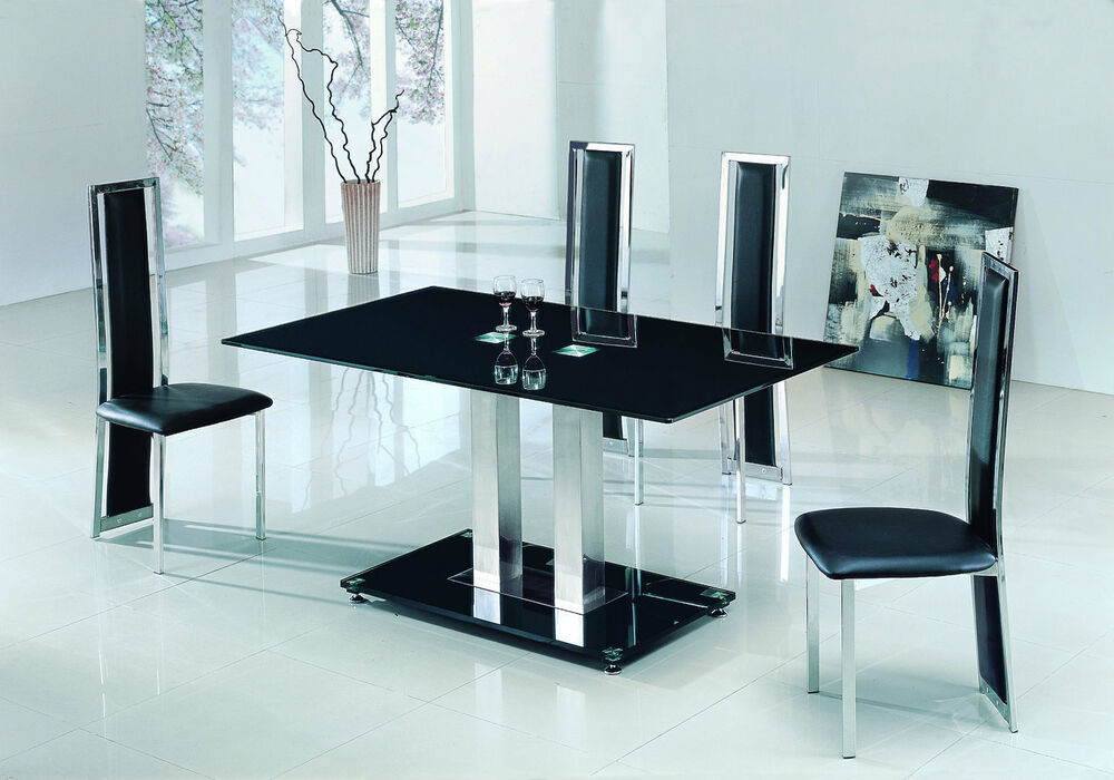 Savio large glass chrome dining room table 4 chairs set for Glass dining table set