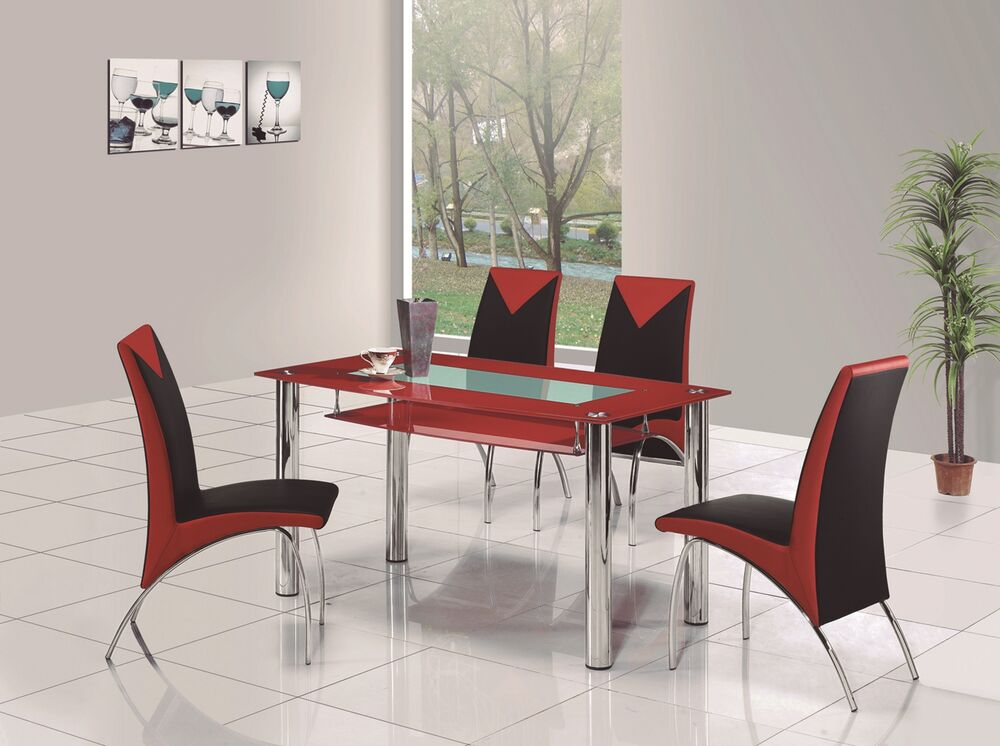 ROVIGO SMALL GLASS CHROME DINING ROOM TABLE AND 4 CHAIRS SET 105 Cm IJ614 8