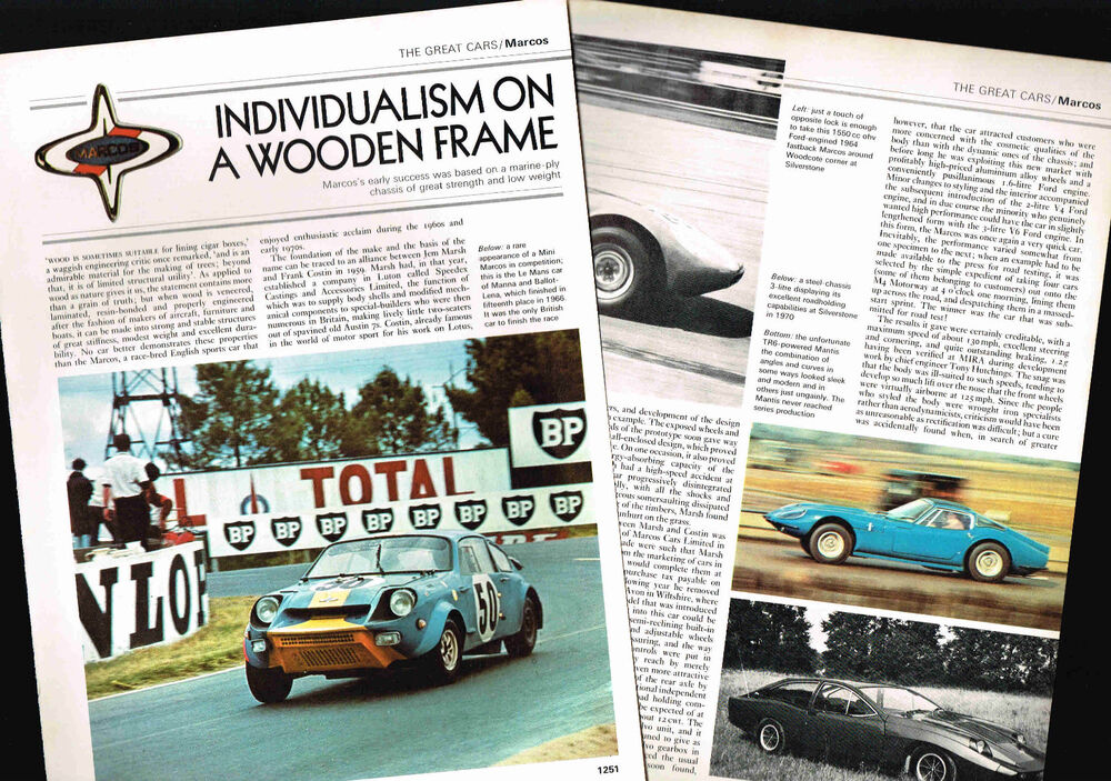 MARCOS Cars/Auto History Article/Photos/Pictures: 1600 | eBay