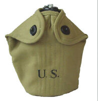 American US ARMY WATER BOTTLE AND CANVAS COVER - WW2 Repro Canteen Holder & Cup