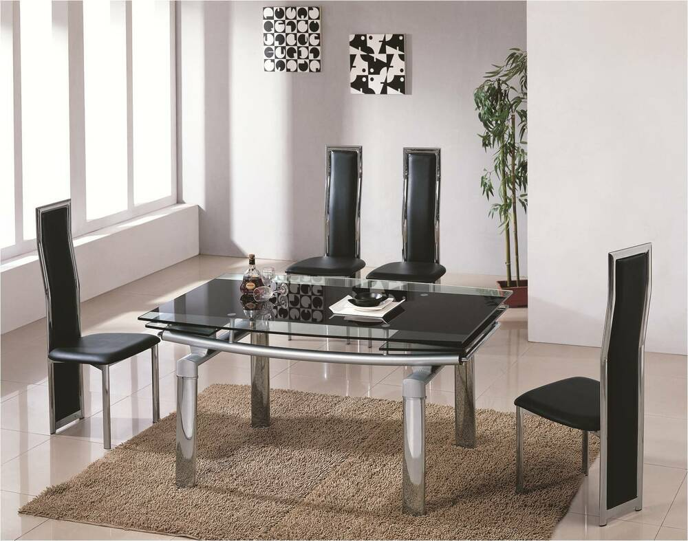 glass tables for dining room donato extending glass chrome dining room table amp 6 chairs 7394