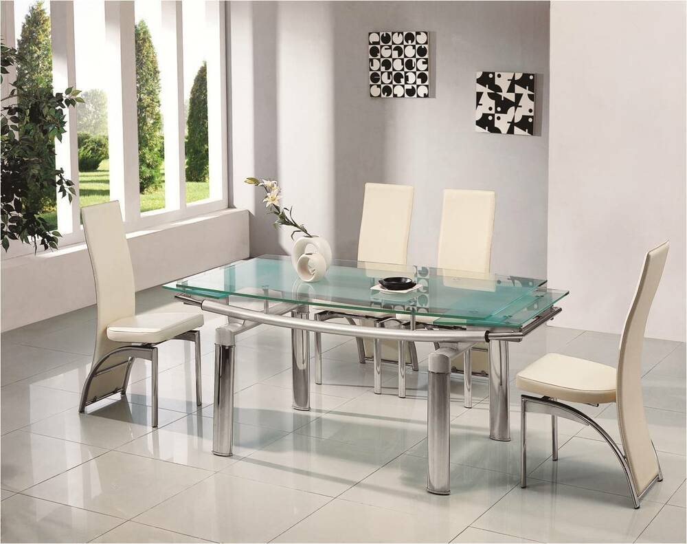 Donato extending glass chrome dining room table 6 chairs for Glass dining room sets
