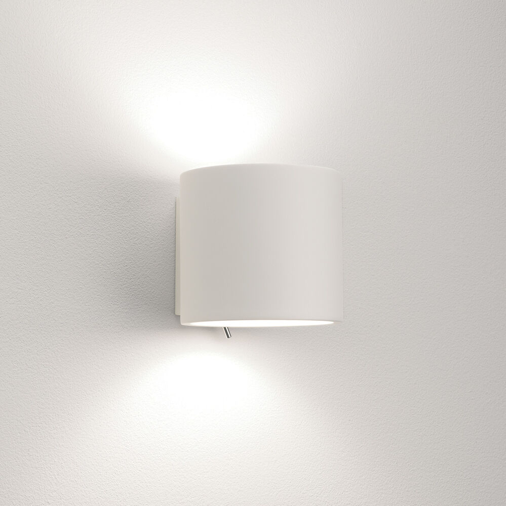 White Dimmable Wall Lights : Astro Brenta 0916 dimmable switched wall light 60W E14 lamp IP20 White plaster eBay