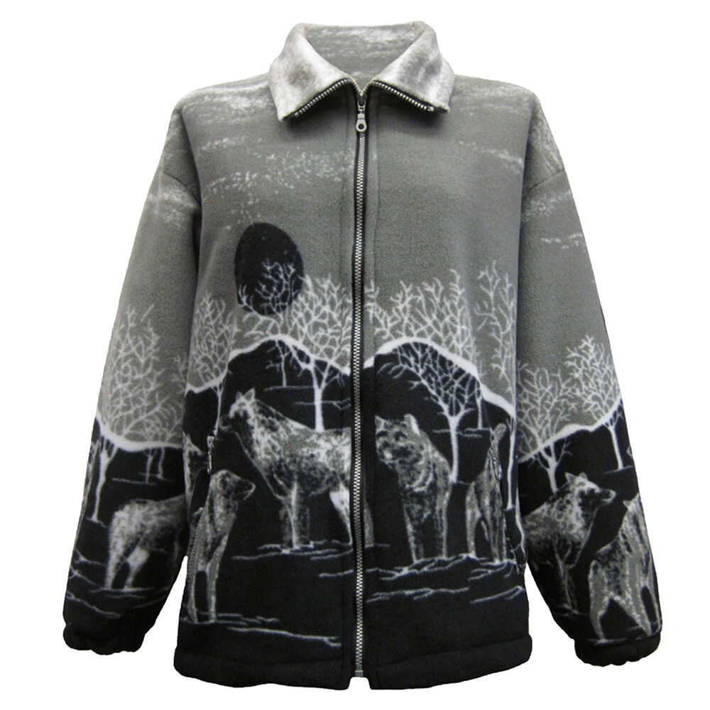 New Womens Double Fleece Animal Print Jacket With Pockets