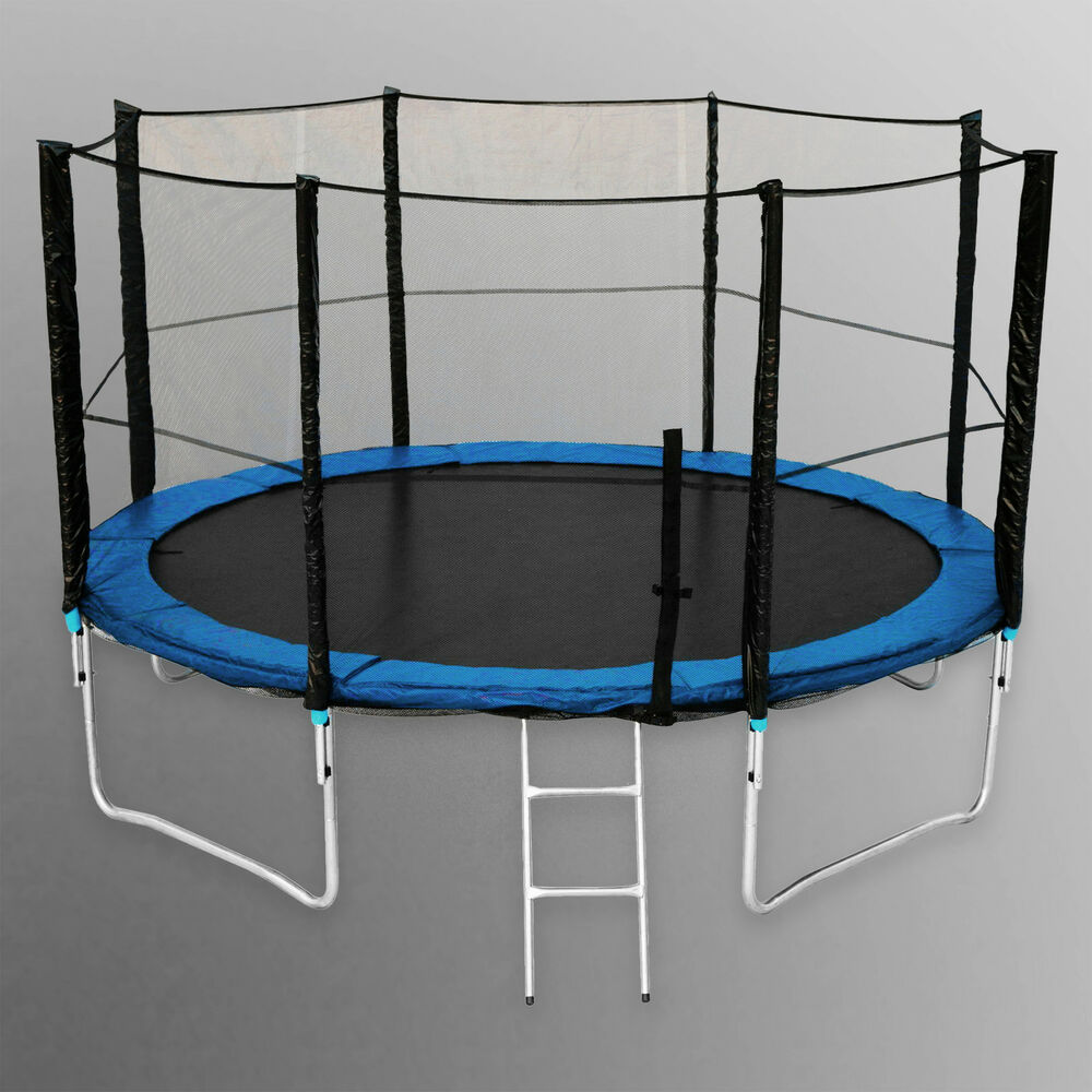 14FT Trampoline With Safety Net Enclosure Ladder Rain