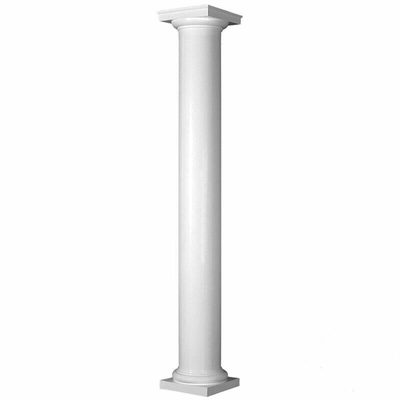 Fiberglass smooth non tapered column with tuscan capital for 10 fiberglass columns