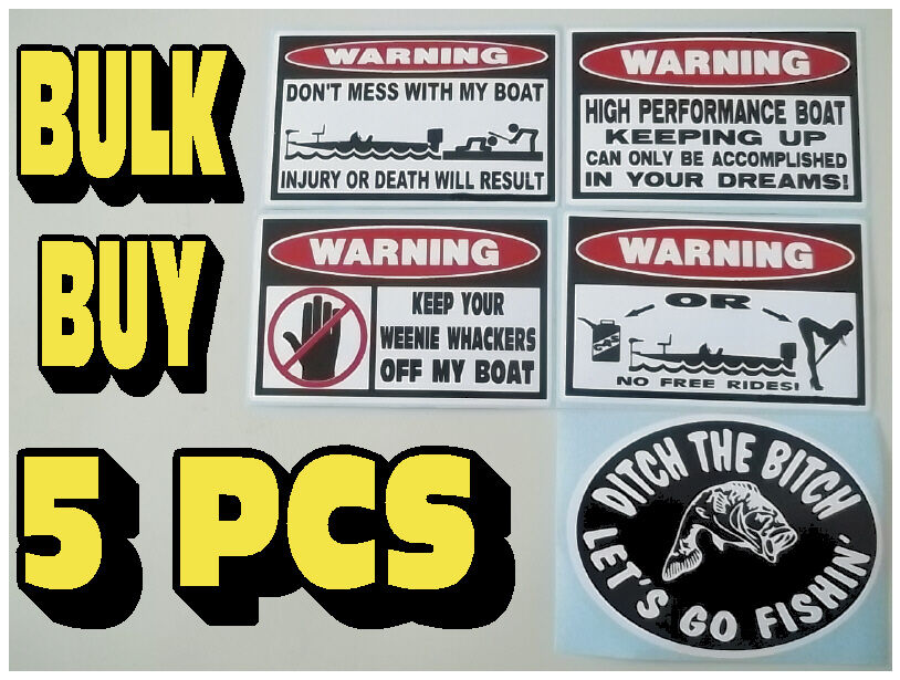 Funny warning bass boat stickers fish trolling motor bait for Fishing boat decals