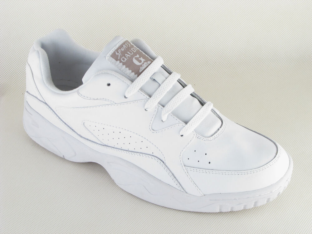 mens gaudi white leather lace up wide fit trainers wide